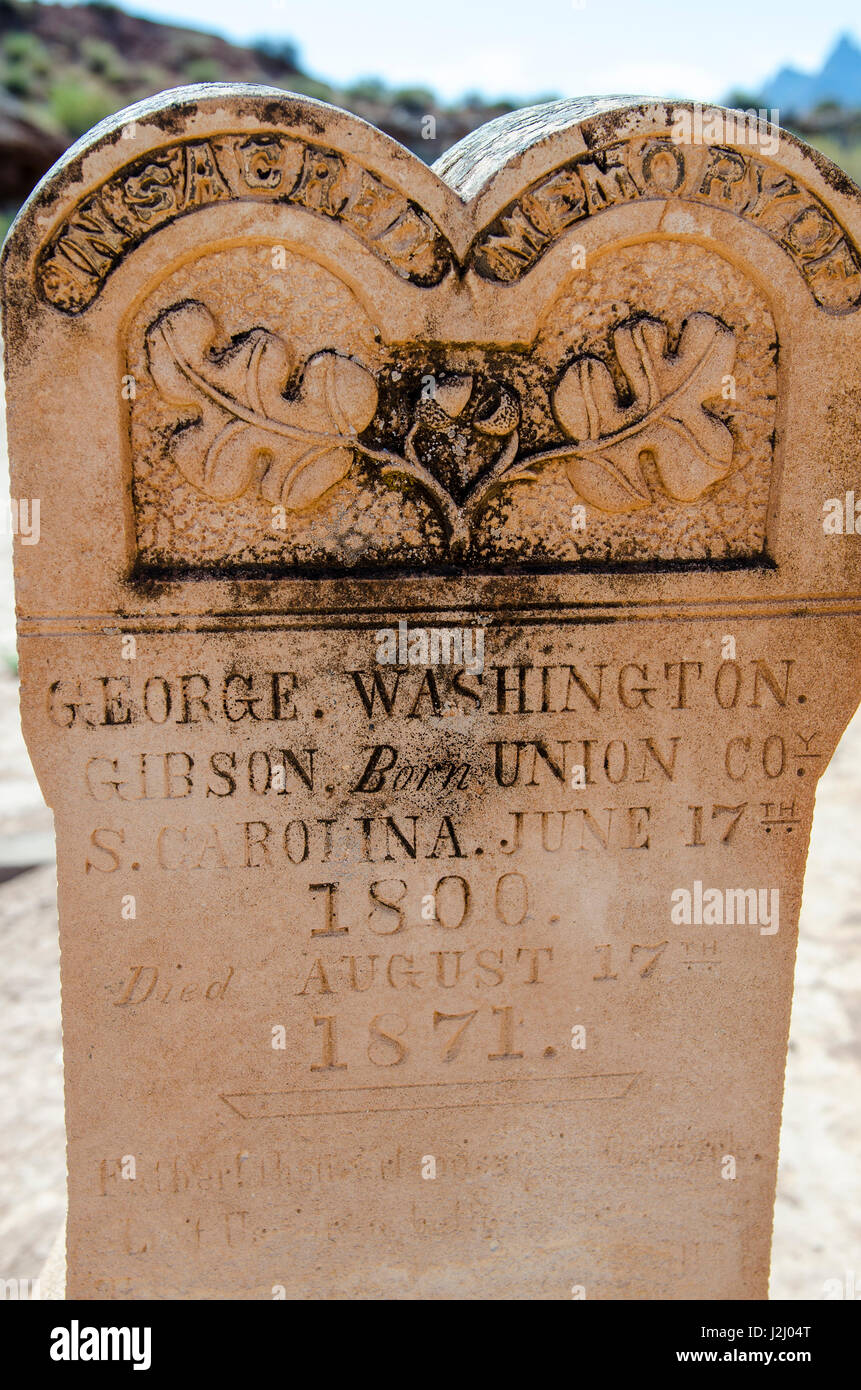 Tombstones in the cemetery in Grafton ghost town, Utah, USA. Stock Photo
