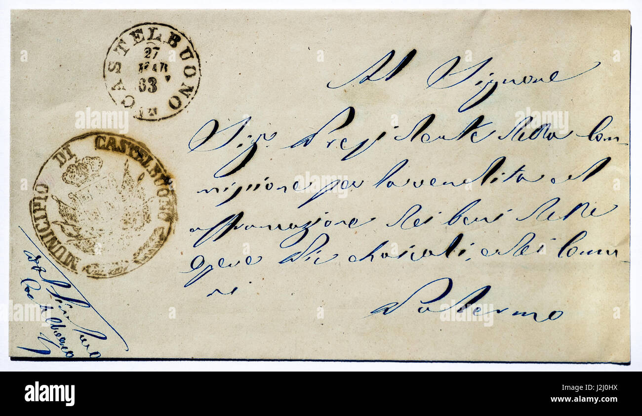 Early 19th century hand-written Italian envelope, 1863. - Stock Image