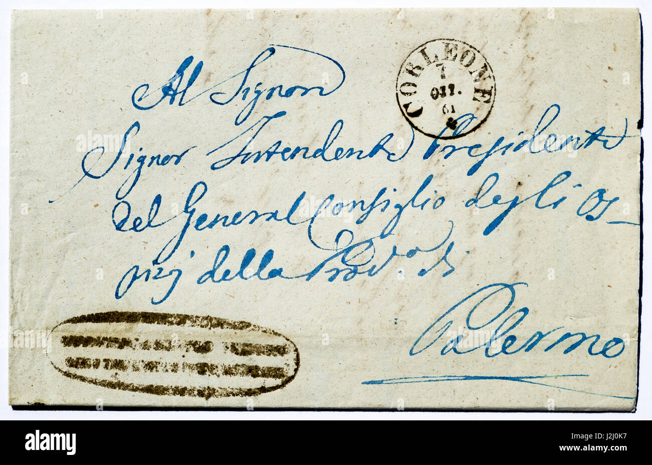 Early 19th century hand-written Italian envelope, 1861. - Stock Image