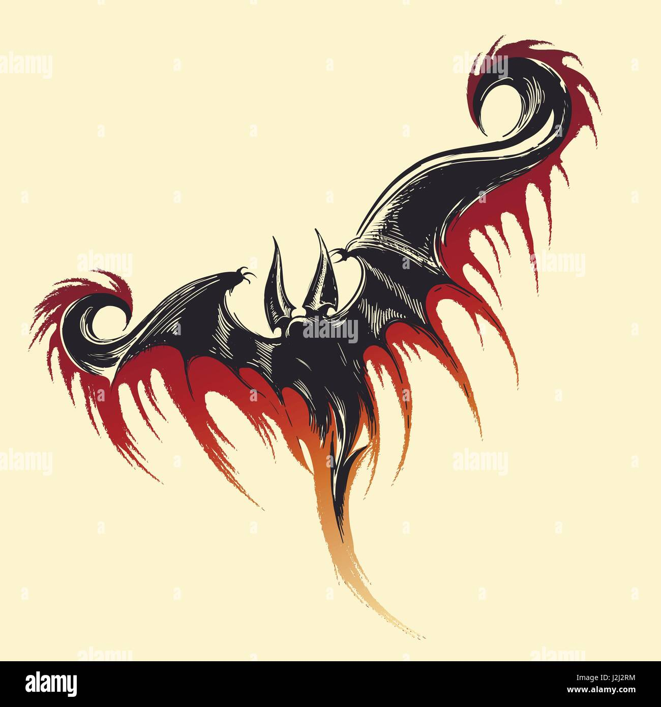 Hand drawn sketch of flying demon with splashes of blood. Vector illustration. - Stock Image