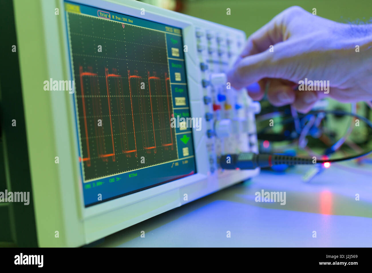 Control panel on specialist measuring instrument in the laboratory. - Stock Image