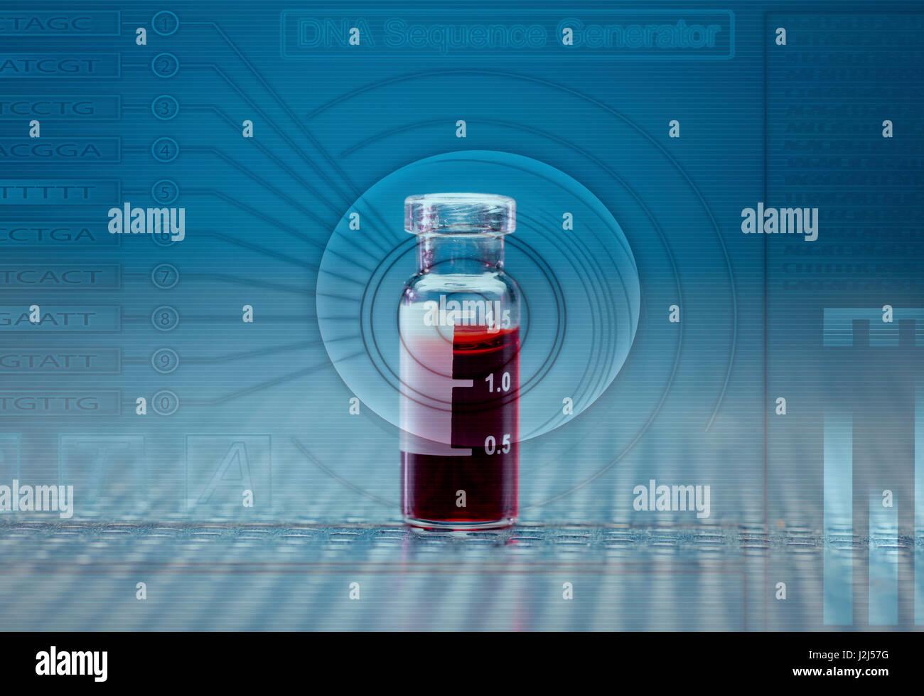 Virology tube with sample. - Stock Image