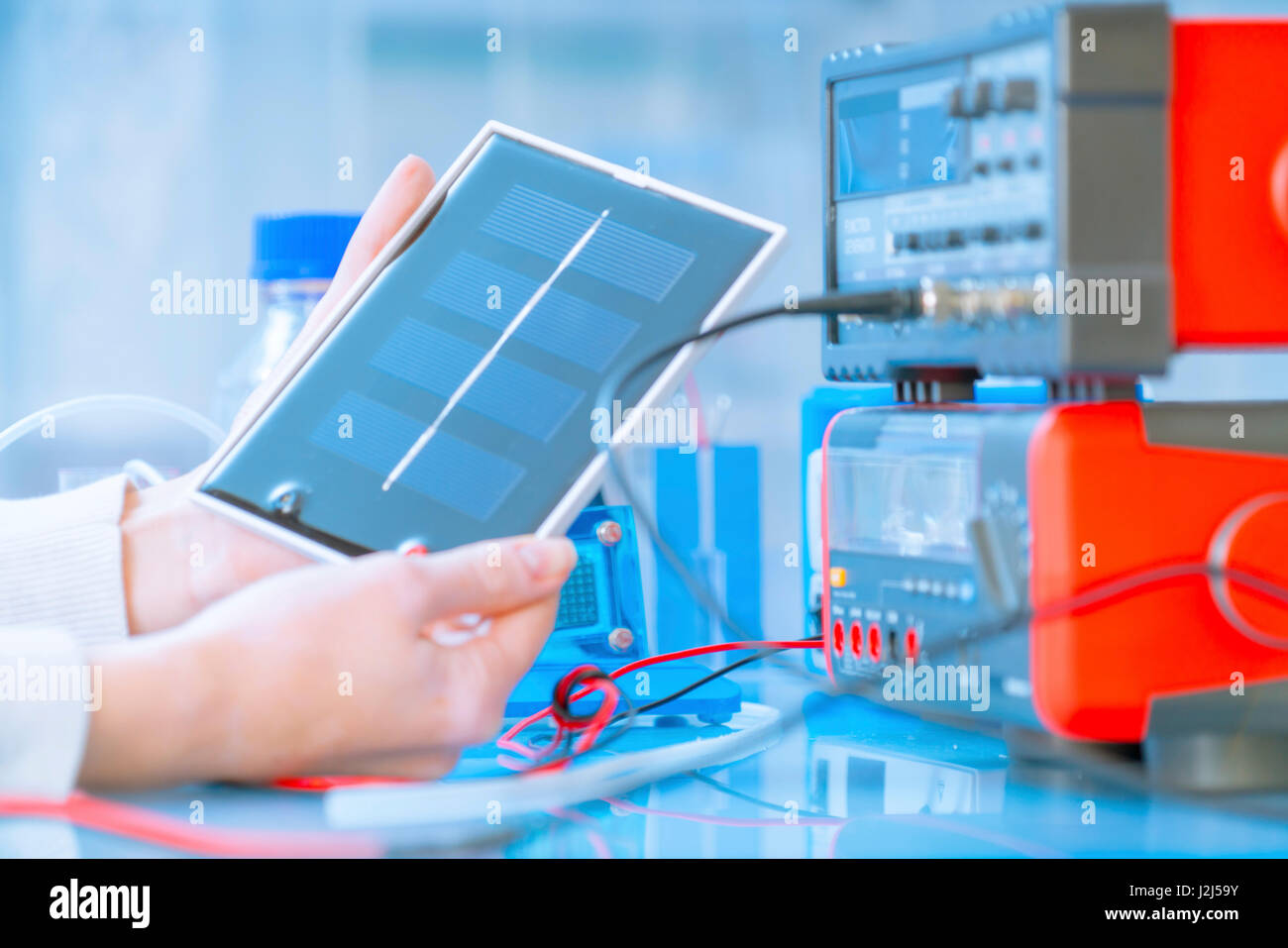 Solar Cell Circuit Stock Photos Images Scientist With Fuel In Laboratory Image