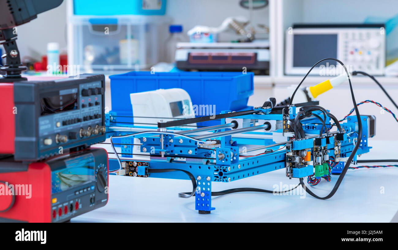 Electronics laboratory equipment and machinery. - Stock Image