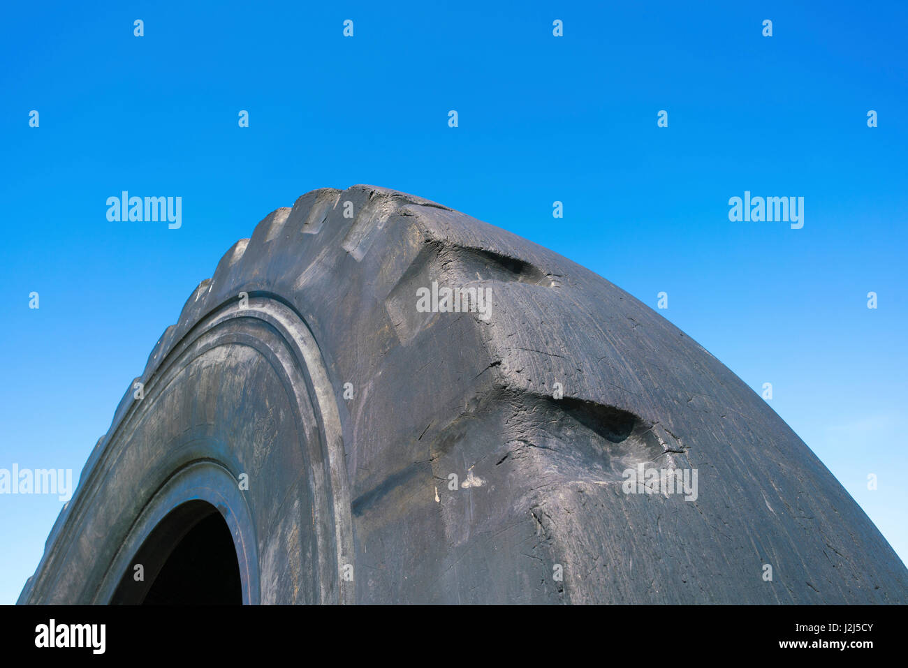 Worn rubber tyre, close up. - Stock Image