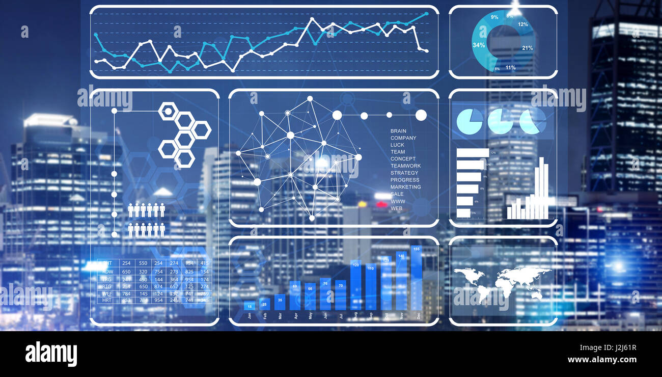 Financial consulting and analytics concept with infographs on screen and cityscape at background Stock Photo