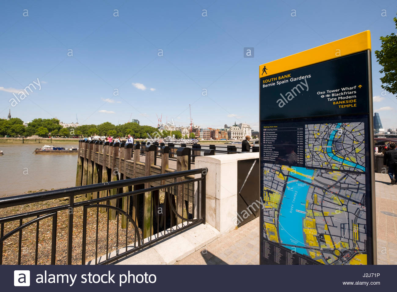 Sign and map of the South Bank along the Queen's Walk, Lambeth, London, England, United Kingdom - Stock Image