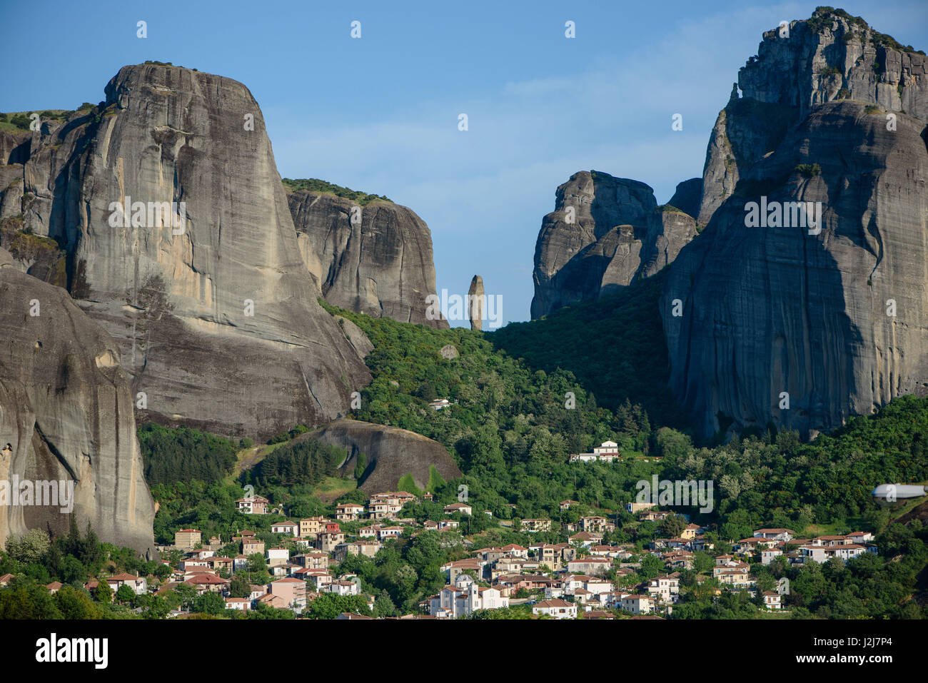 view to the mountains like immense monolithic pillars in Meteora, Greece - Stock Image