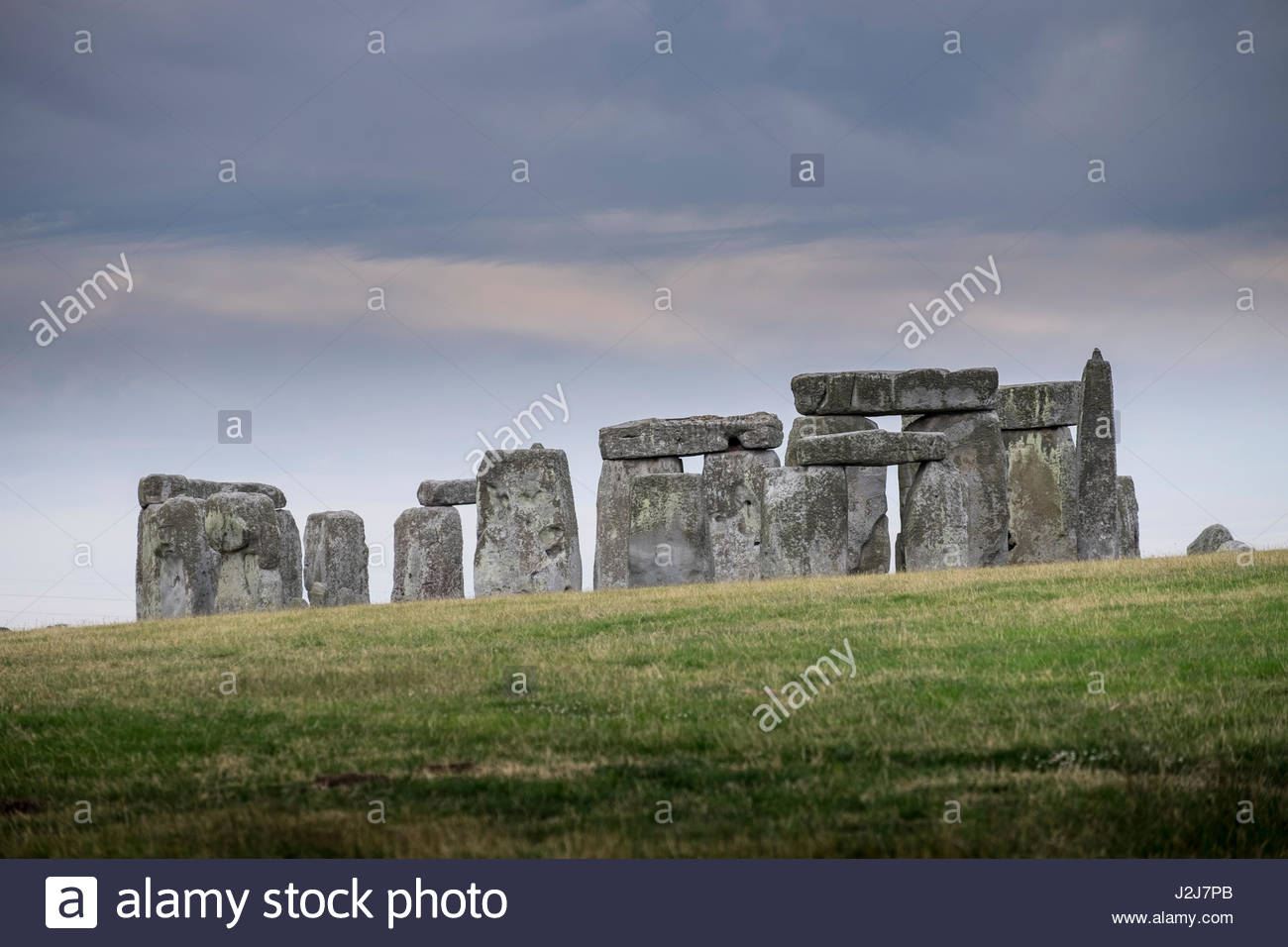 Standing stones set in a ring at Stonehenge prehistoric Bronze Age monument, Stonehenge World Heritage Site, Wiltshire, - Stock Image