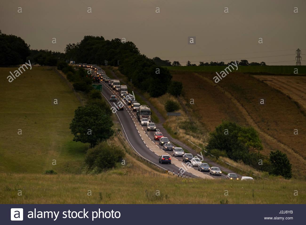 Automobile traffic on A303, Wiltshire, England, United Kingdom - Stock Image