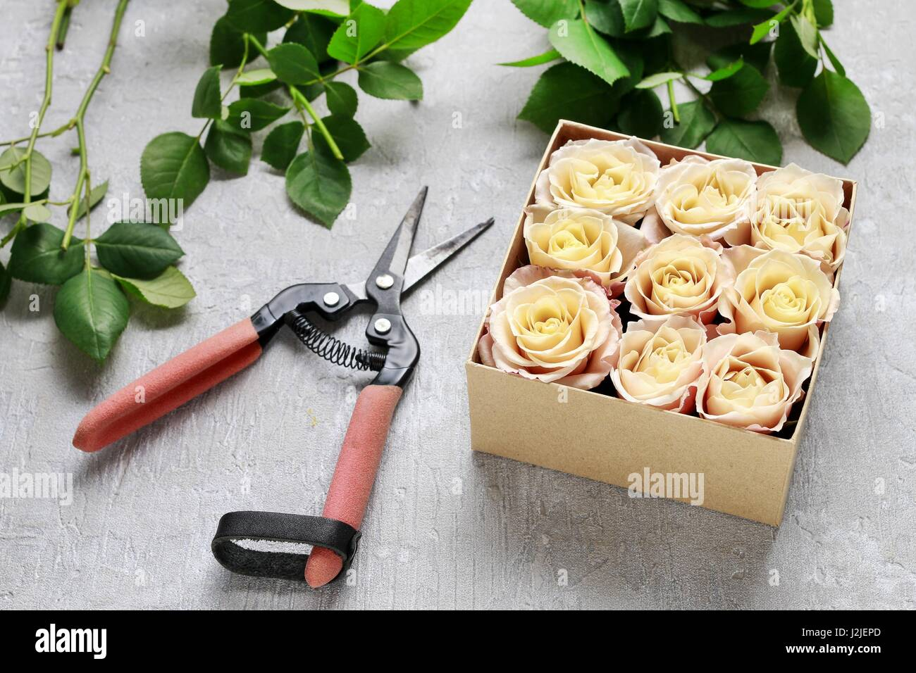 Florist Workplace How To Make Box With Flowers Step By Step Stock
