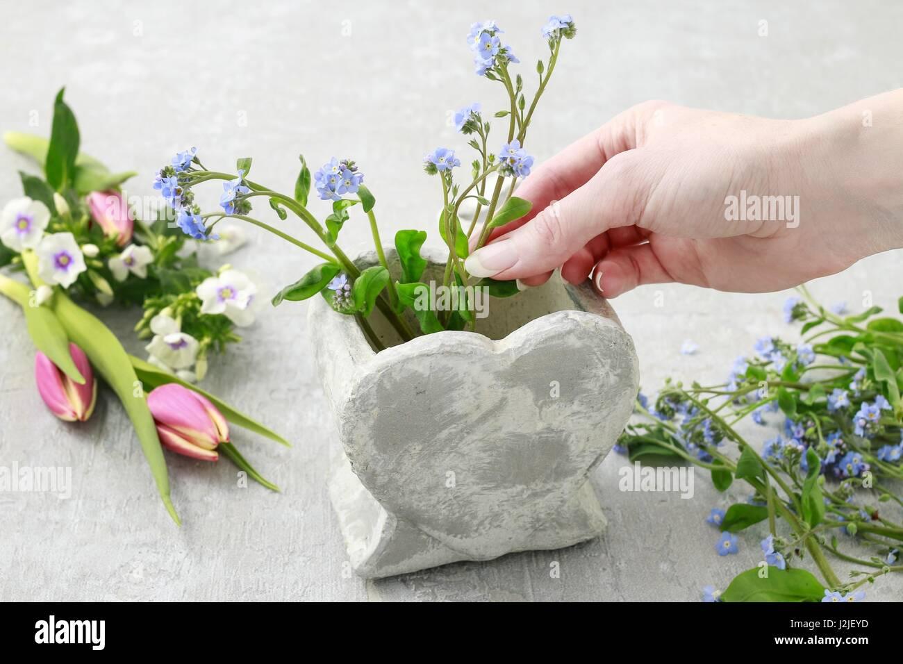 Florist At Work How To Make Floral Arrangement Inside Stone Heart