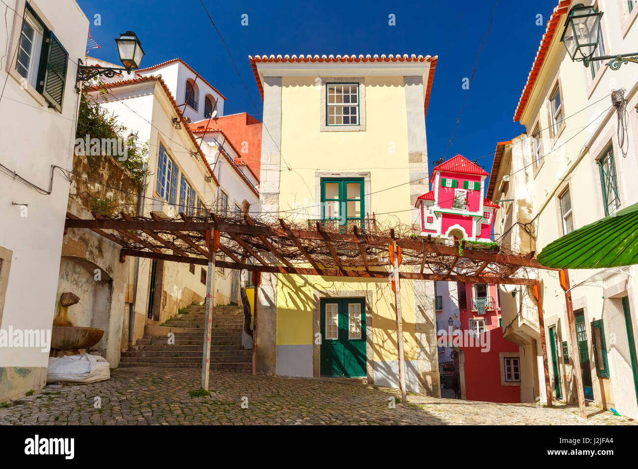 Spring typical Lisbon street, Portugal - Stock Image