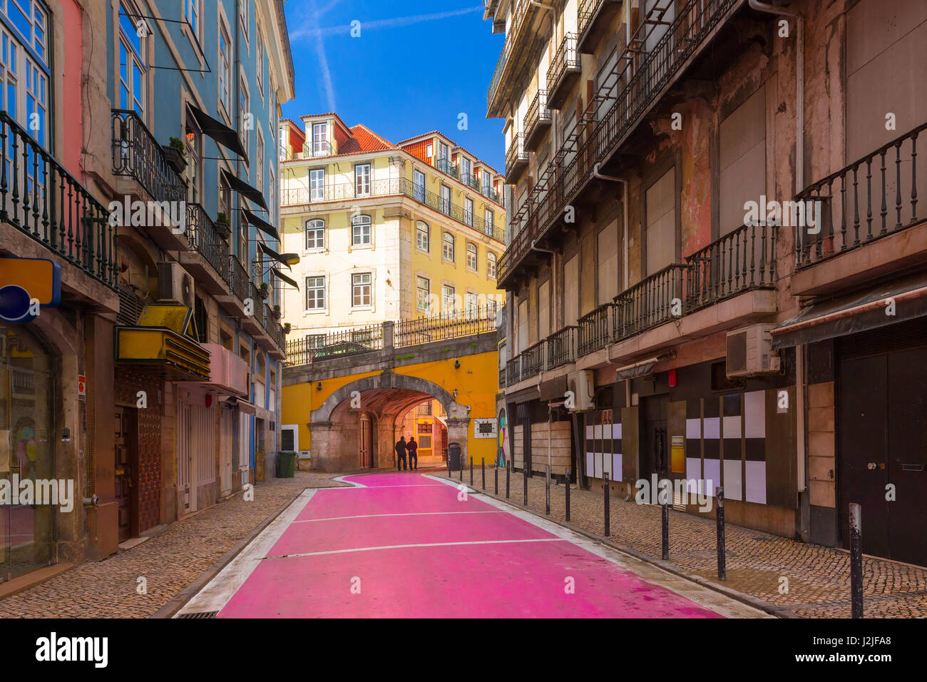 The famous Pink street in Lisbon, Portugal - Stock Image