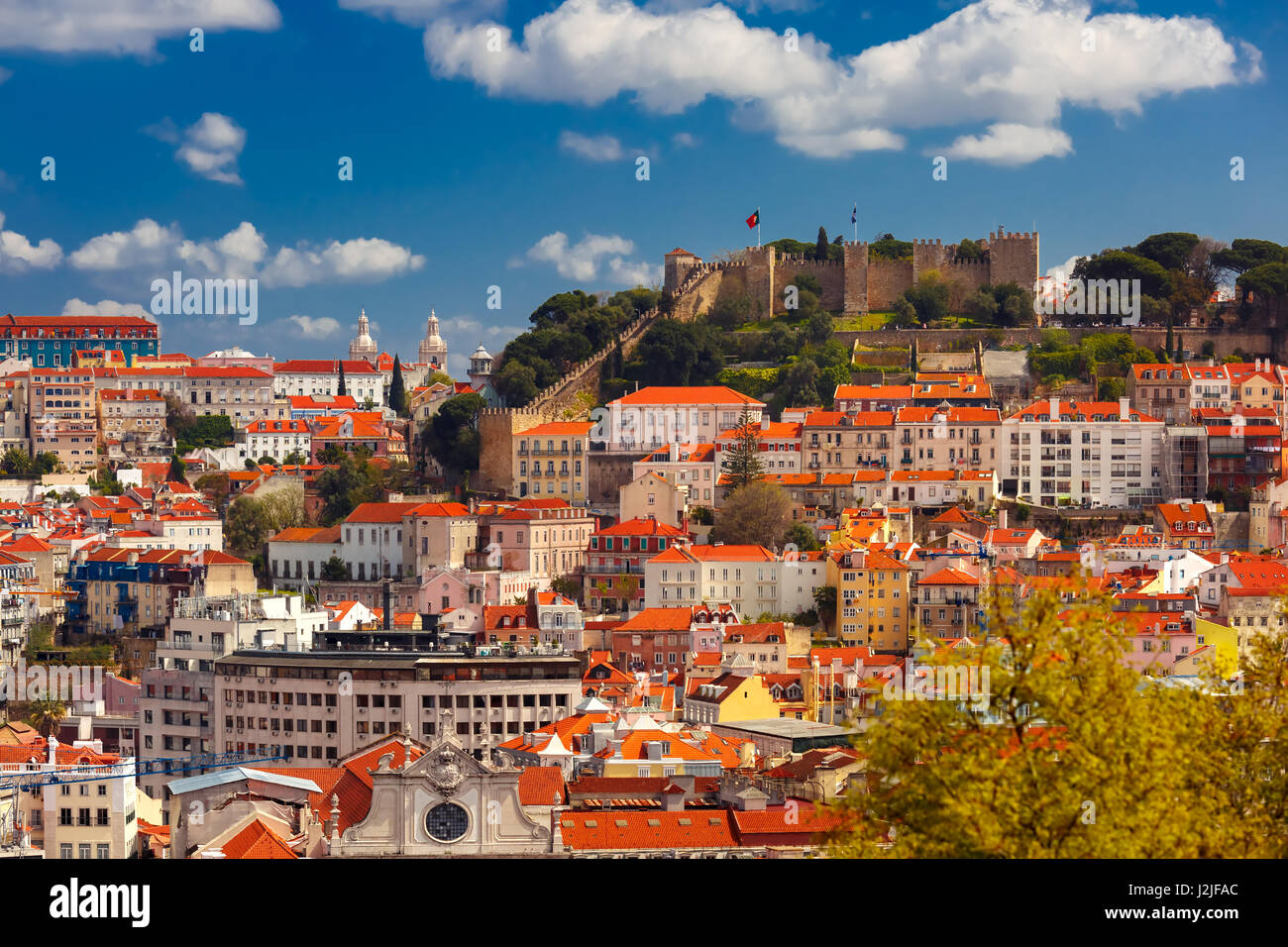 Historical centre of Lisbon on sunny day, Portugal - Stock Image