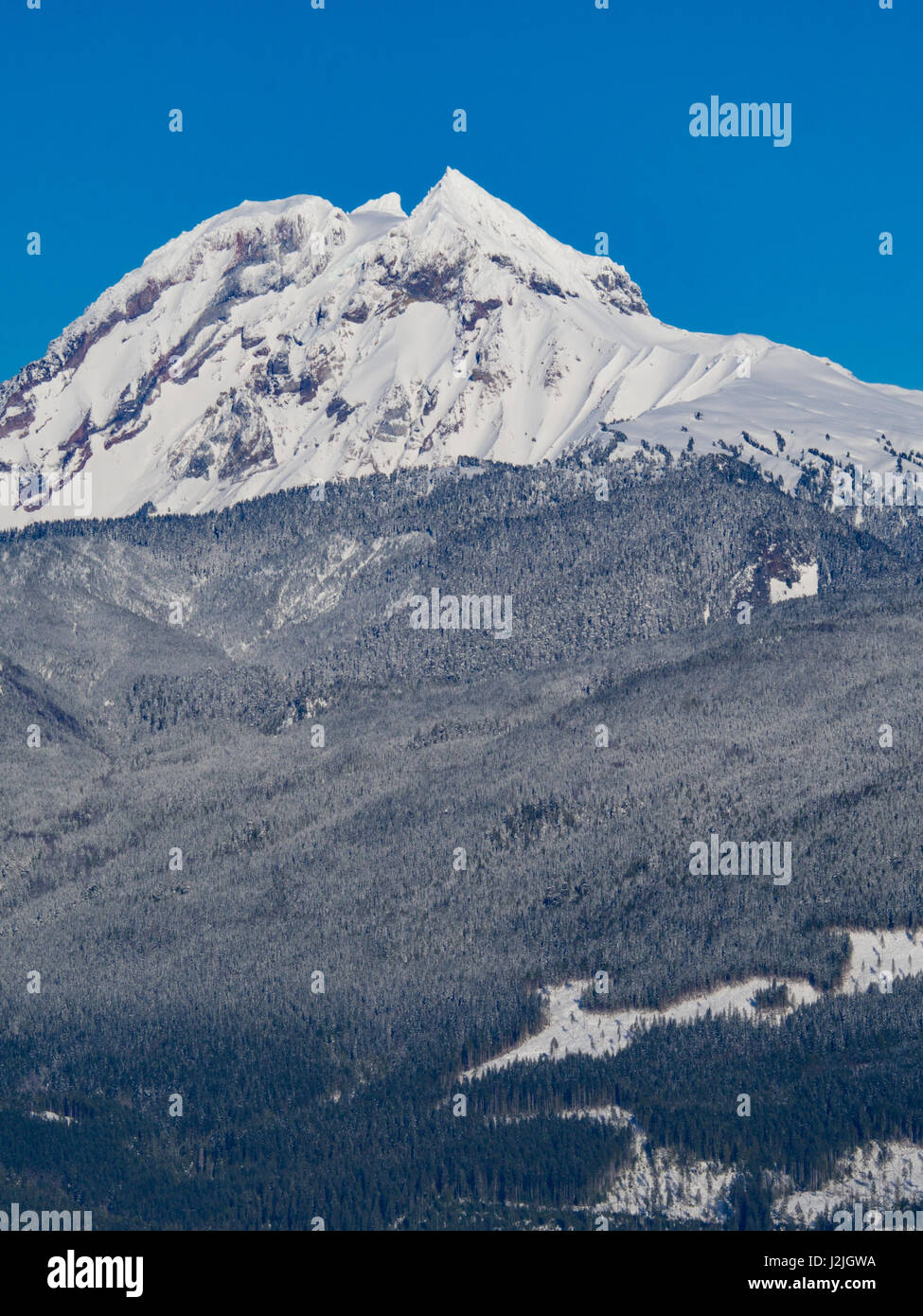 Mountain Peak from the Tantalus range in British Columbia. - Stock Image