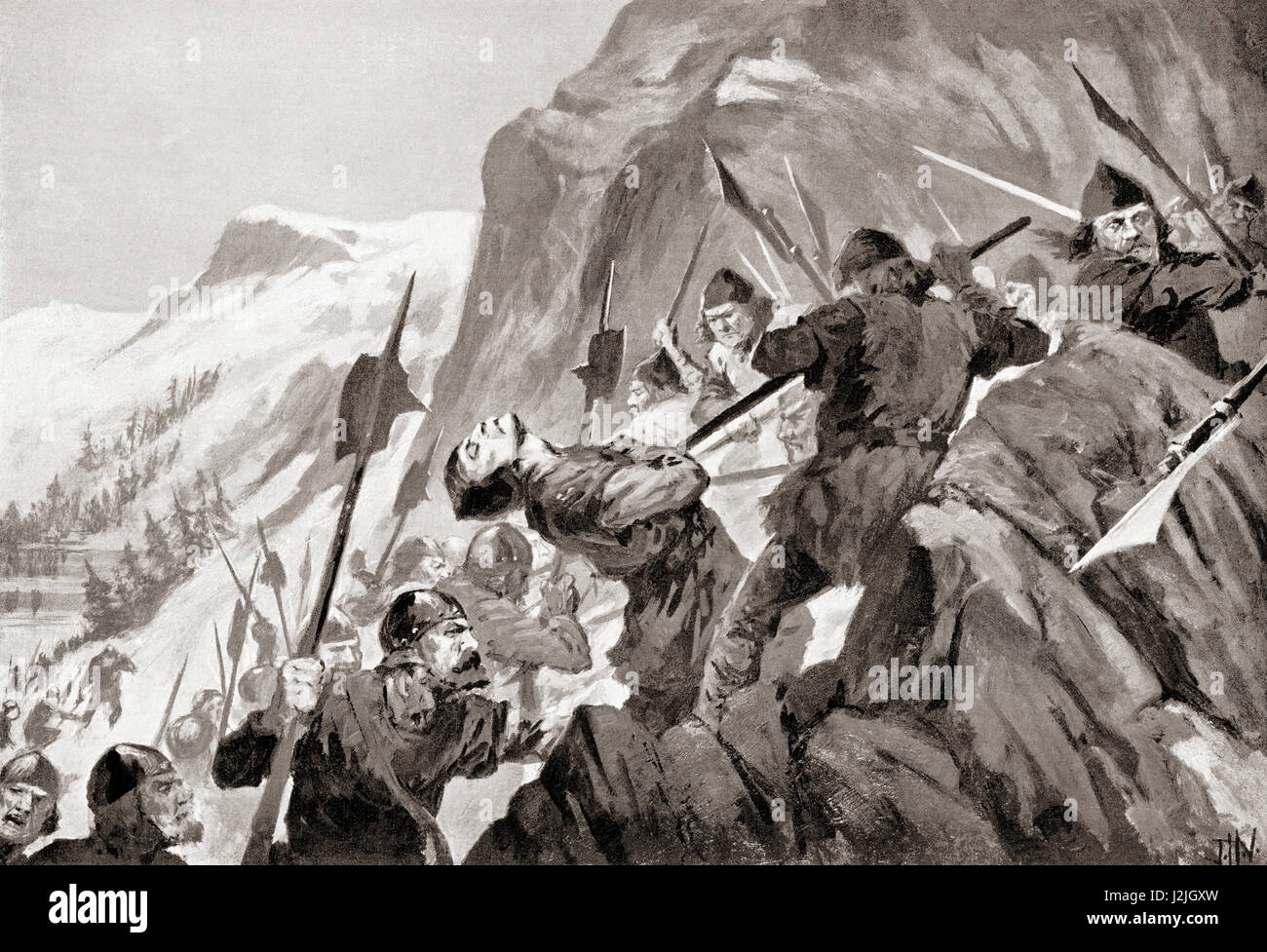 The Battle of Morgarten, Morgarten Pass, Switzerland, 15 November 1315, between the Swiss Confederacy and Austrian - Stock Image