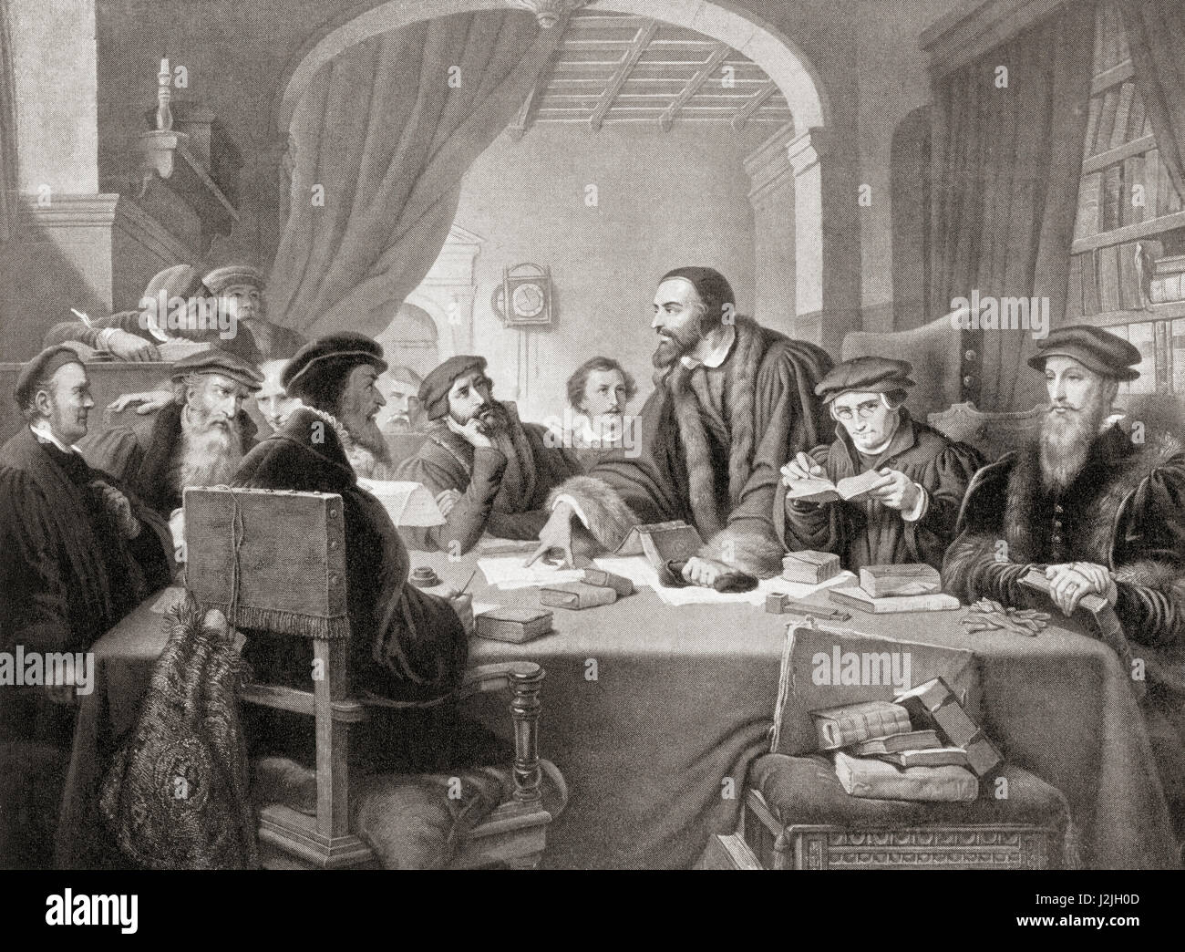 John Calvin, 1509 – 1564. Influential French theologian, pastor and  reformer during the Protestant Reformation. From Hutchinson's History of  the Nations, ...