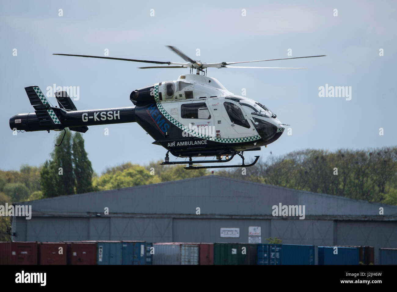 Air Ambulance MD-900 Explorer comes in to land at North Weald airfield - Stock Image