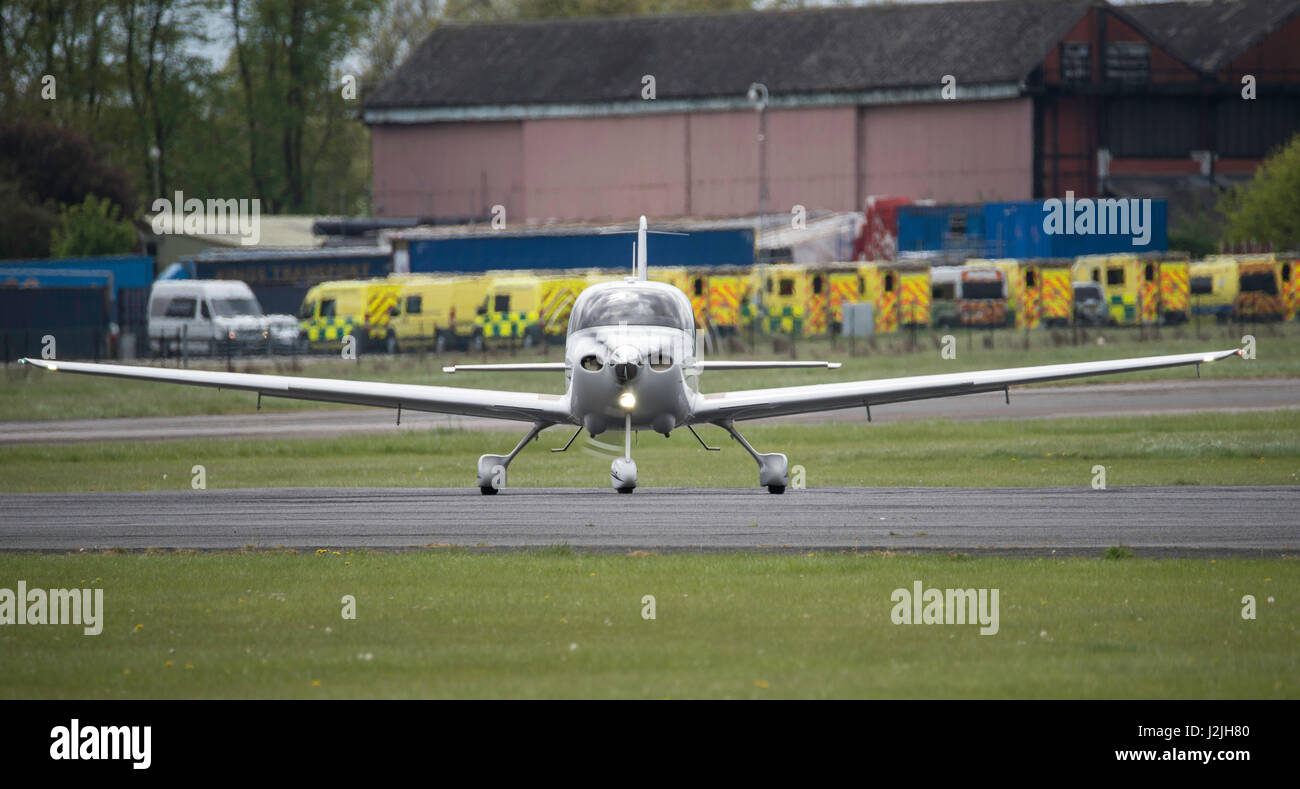 Cirrus SR20 GTS G3 aircraft takes off, North Weald Airfield - Stock Image