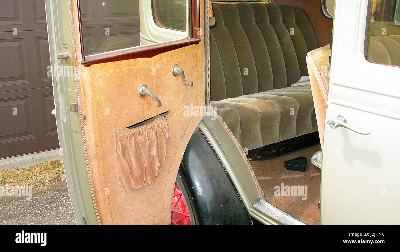 USA, Wisconsin, 1930 Chevrolet Independence AE 4 Door Sedan, Interior Detail (PR) - Stock Image