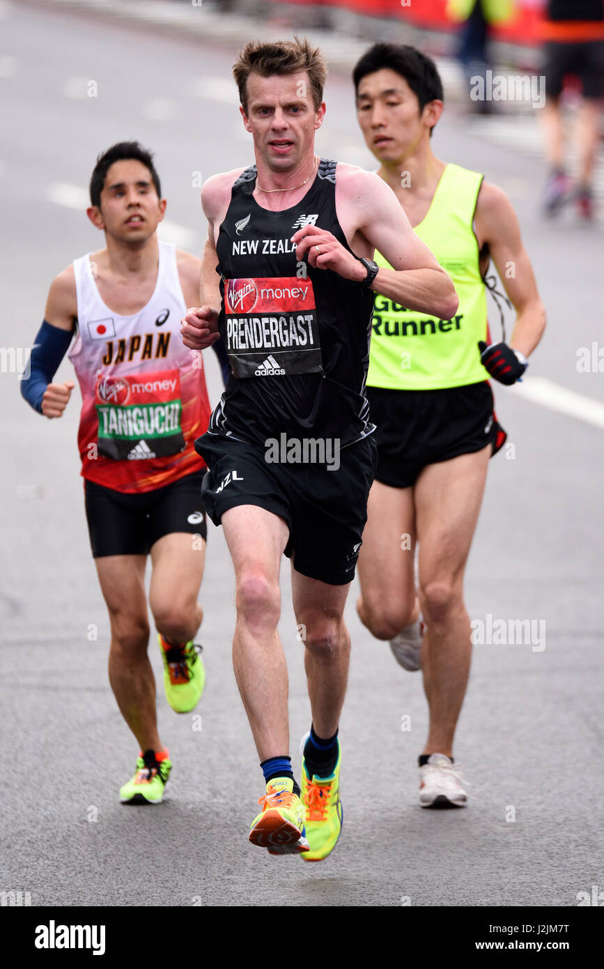 Tim Prendergast running in the T13 visual impairment category of the 2017 London Marathon, with space for copy - Stock Image