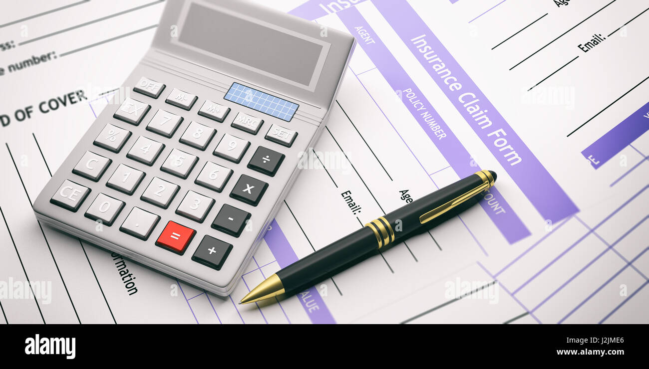 Calculator on insurance claim form background  3d