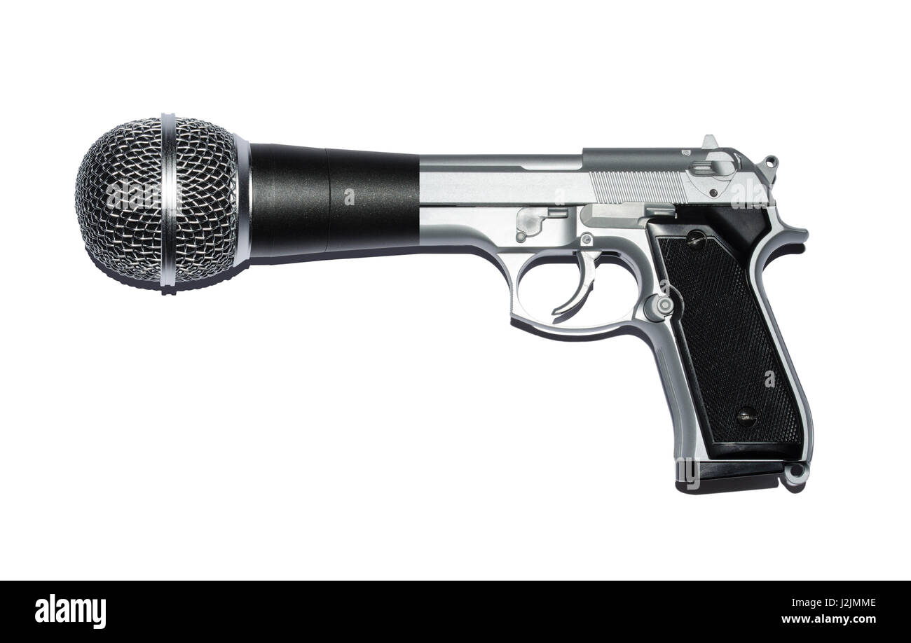 Gun and microphone hybrid, metaphor for Speak Truth to Power. - Stock Image