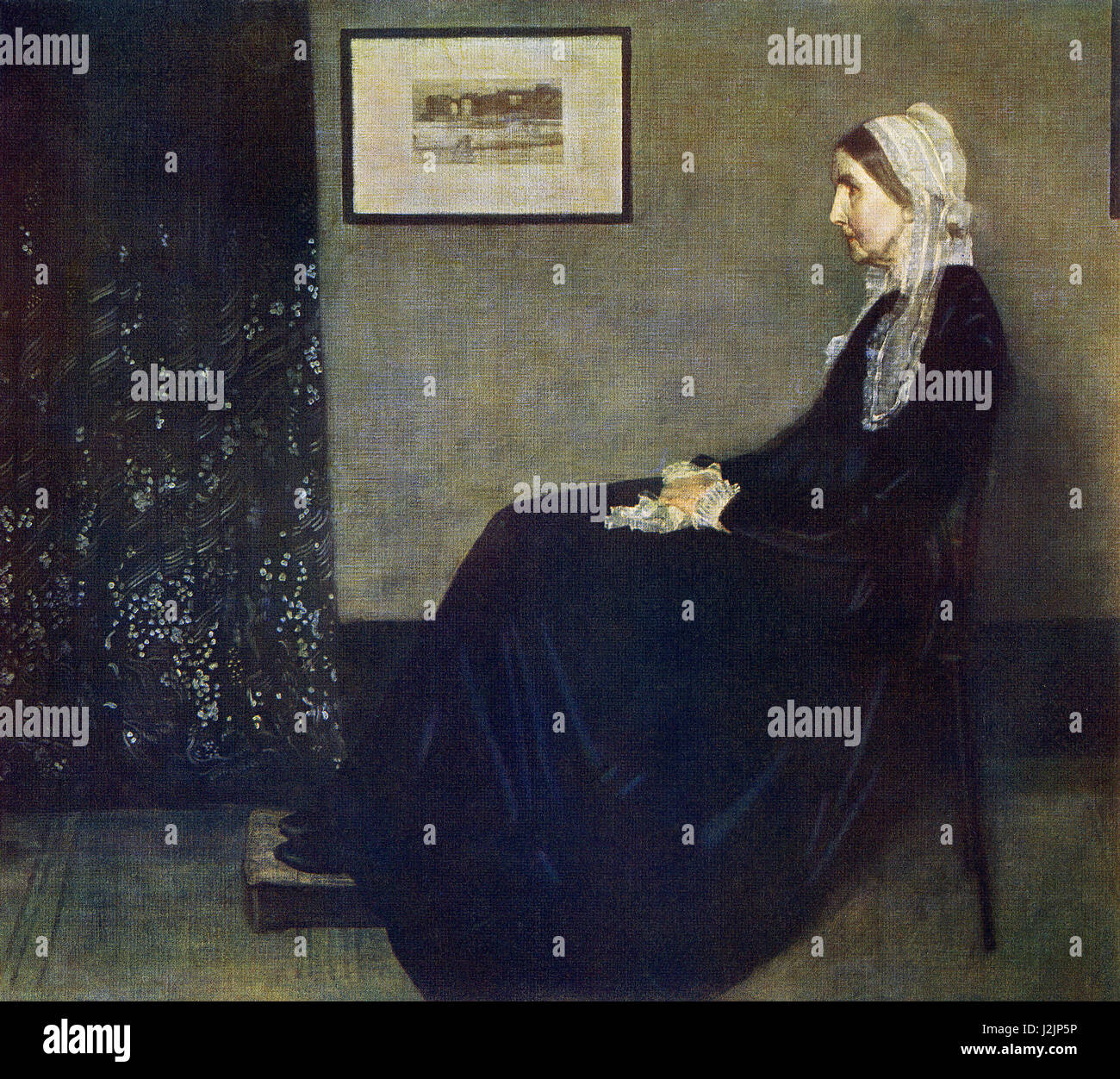 This painting, titled My Mother, was done by the American artist James McNeill Whistler (1834-1903) who was born Stock Photo