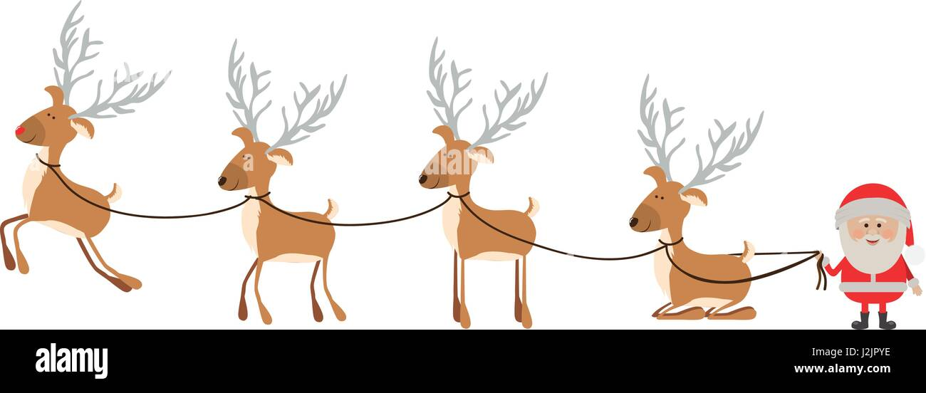 background with caricatures of reindeers and santa claus - Stock Image