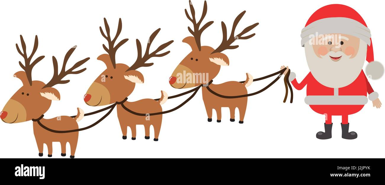 background with caricatures of three reindeers and santa claus - Stock Image
