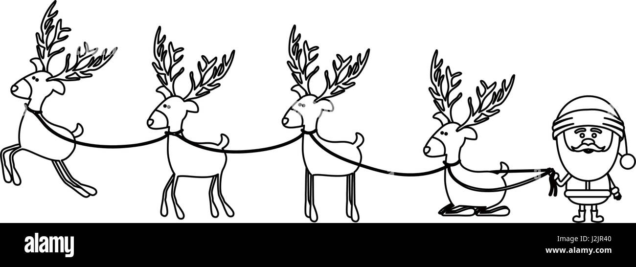 monochrome contour caricatures of reindeers and santa claus - Stock Image