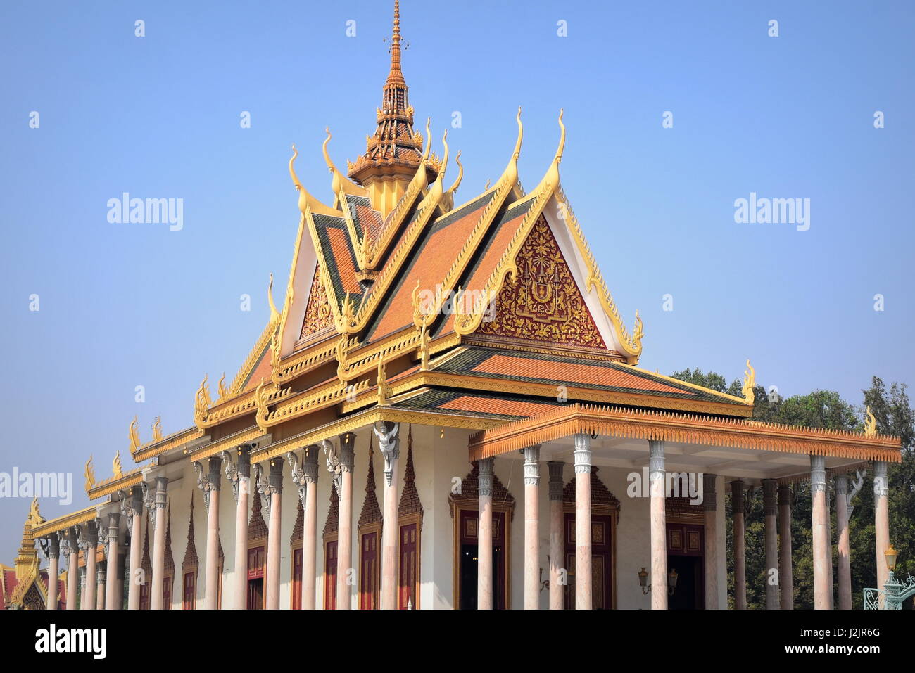 Royal palace of Phnom Penh - Throne Hall - with blue sky - Cambodia - Stock Image
