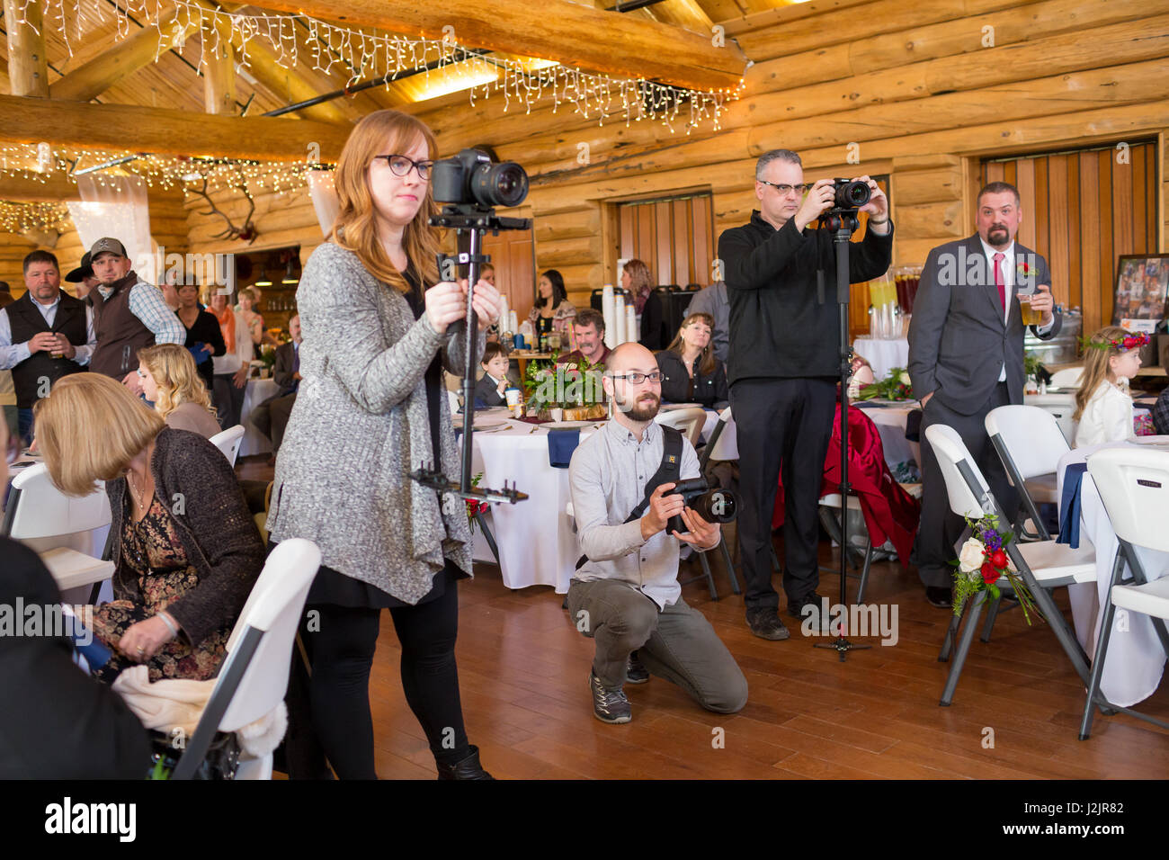 Wedding Videographers with Cameras Stock Photo