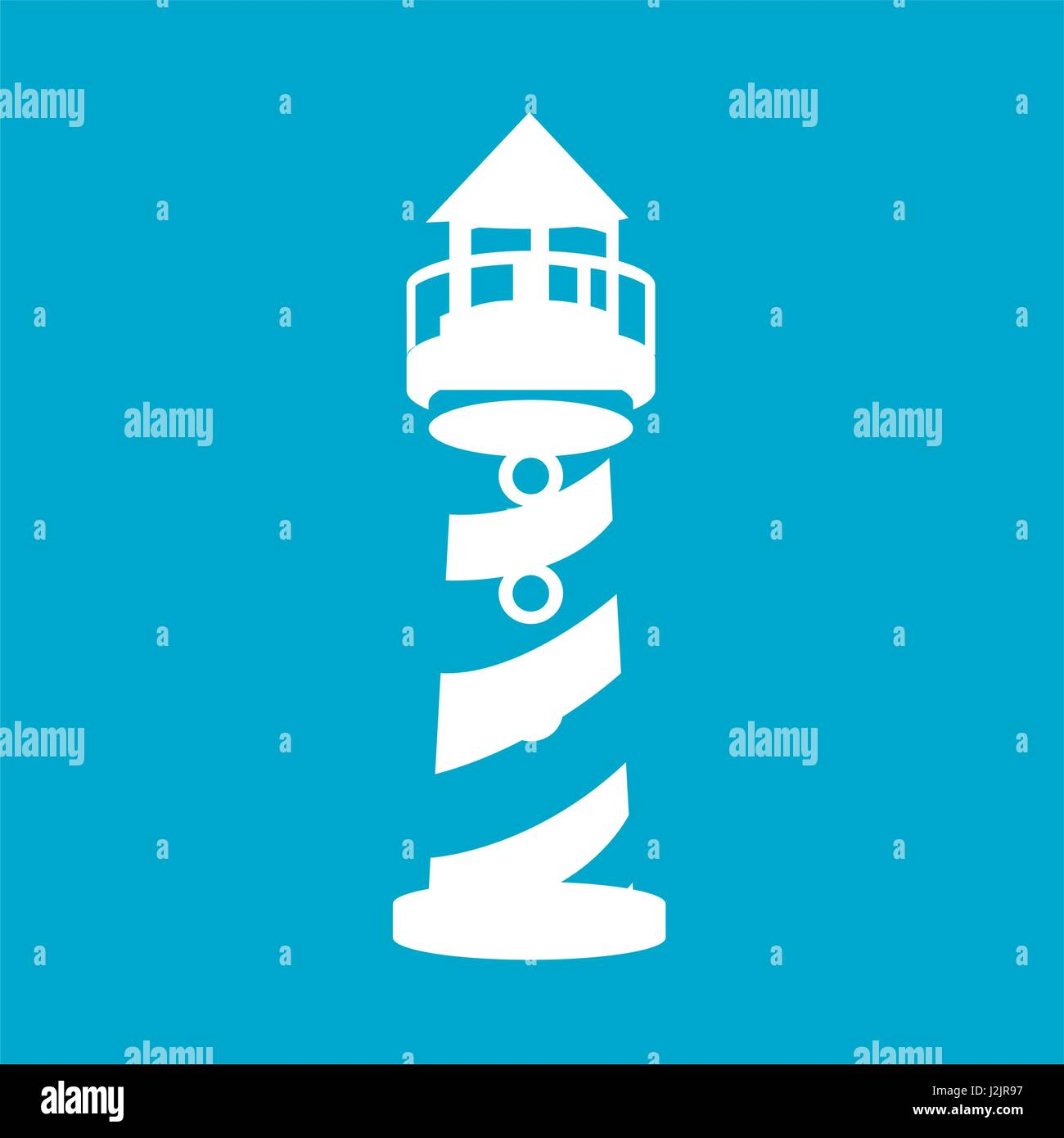 blue square frame with tower of lighthouse - Stock Vector