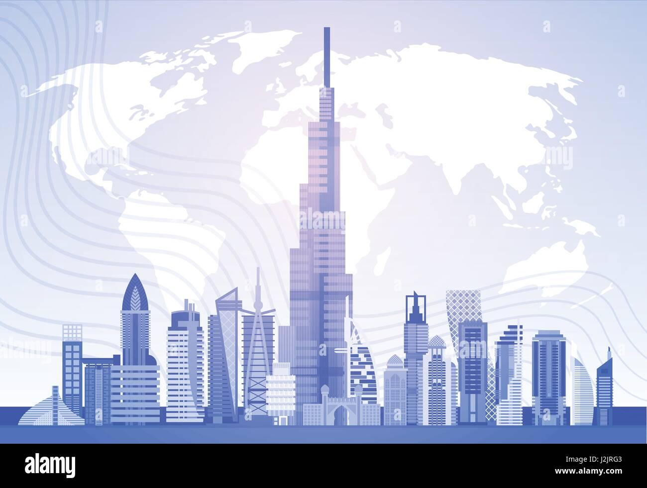 Dubai Skyline Panorama Over World Map, Modern Building Cityscape ...