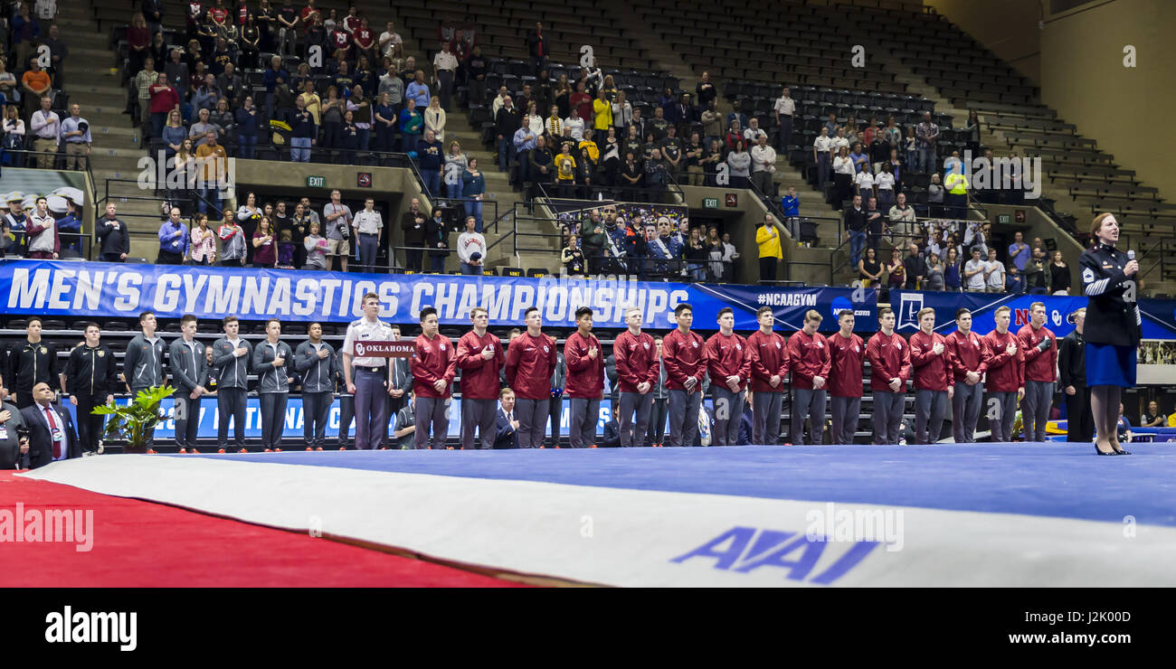 West Point, NY, USA. 21st Apr, 2017. April 21, 2017: A view of the Oklahoma Sooners gymnastics team during the national - Stock Image