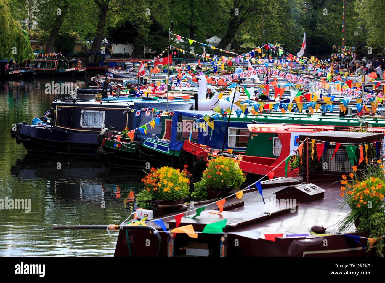 London, UK. 29 April 2017. The three day Canalway Cavalcade festival gets under way in Little Venice, London. The Stock Photo