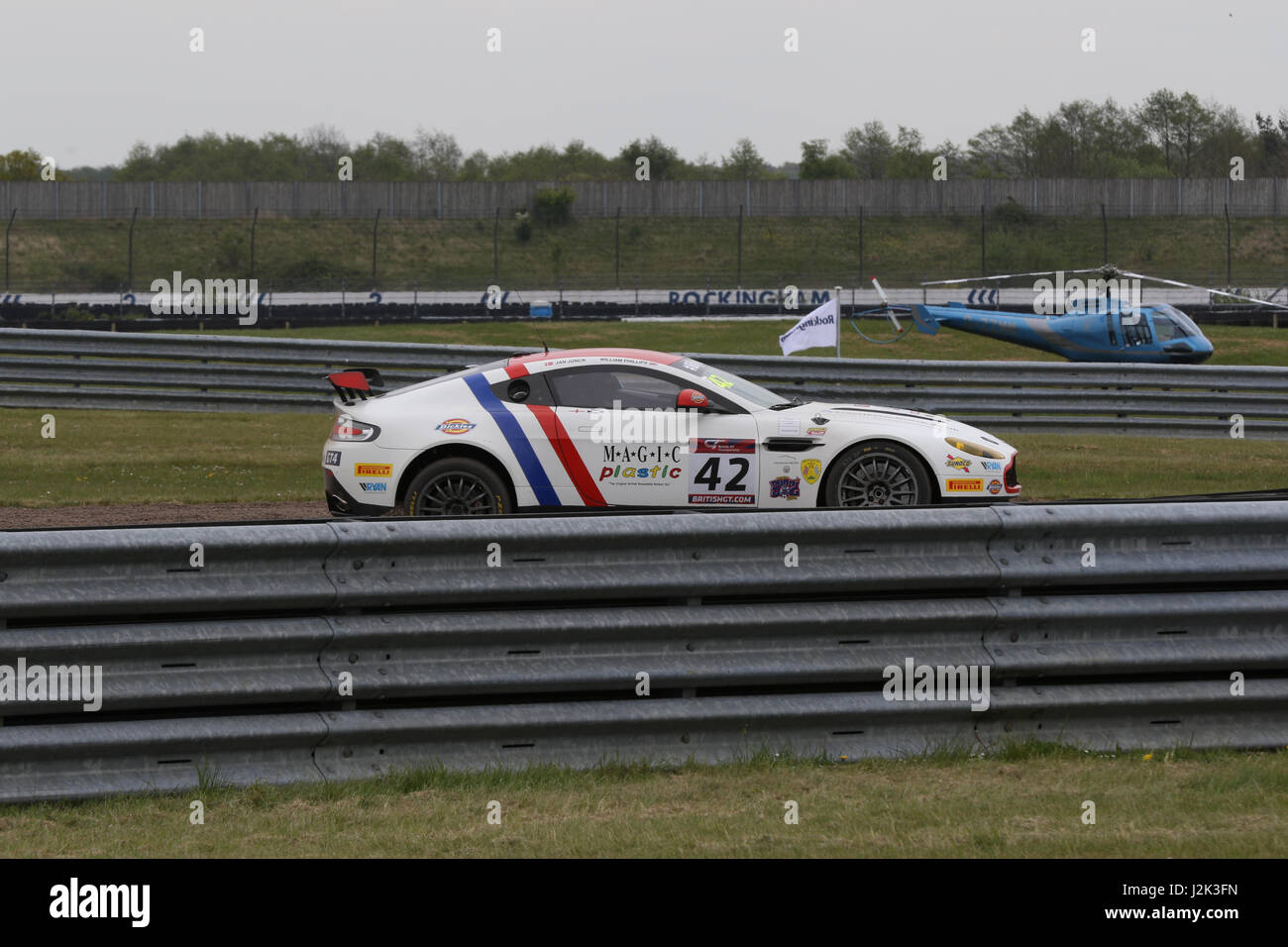 The Macmillan AMR GT4 car of Williams Phillips and Jan Joncks spins out of Free Practice 2 for the British GT at Rockingham Motor Speedway Credit: ...