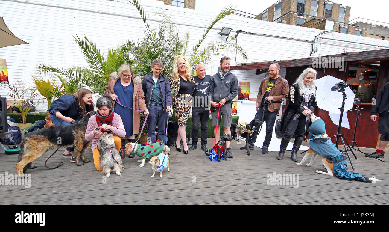 London, UK. 29th April 2017. Group photo of contestants at the Sci-Fido cosplay dog show at Sci-Fi London, at Juju's Stock Photo
