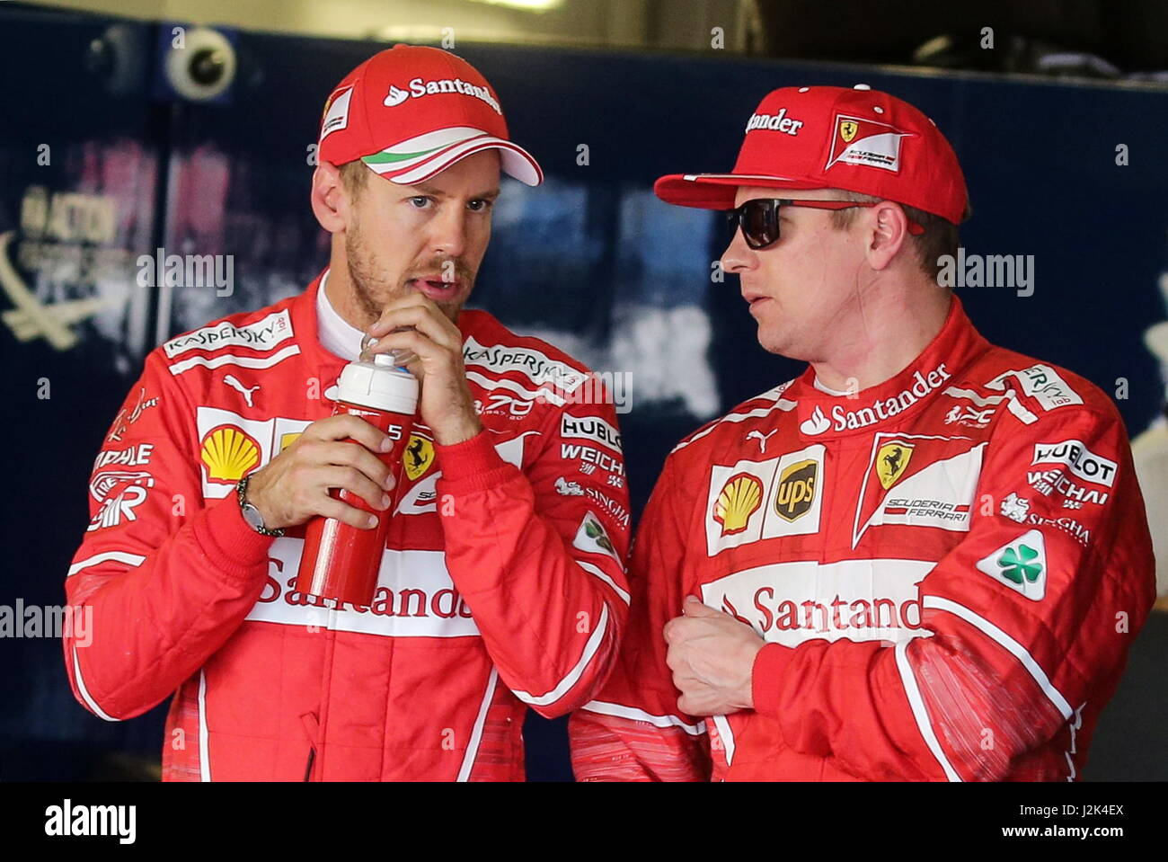 Sochi Russia 29th Apr 2017 Scuderia Ferrari F1 Drivers Sebastian Stock Photo Alamy