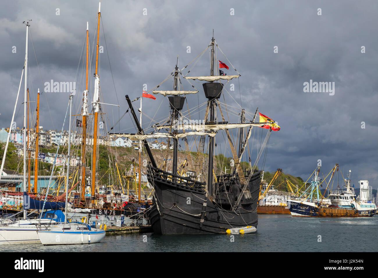 Brixham, Devon, 29th Apr 17 The historic Neo Victoria, Ferdinand Magellan's ship, which circumnavigated the globe - Stock Image