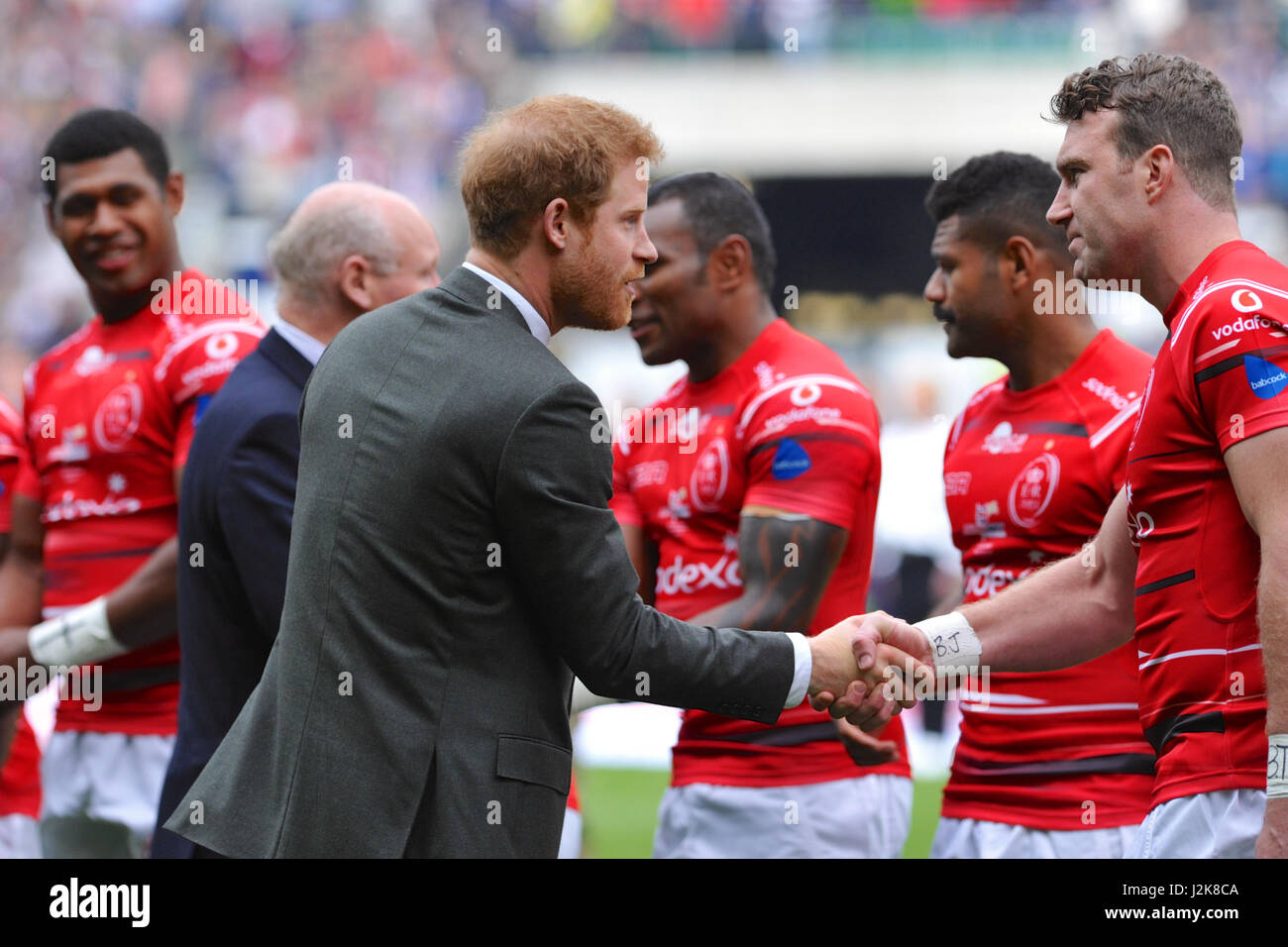 London, UK. 29th Apr, 2017. Price Harry meeting members of the Army Team before the start of the 100th annual Army - Stock Image