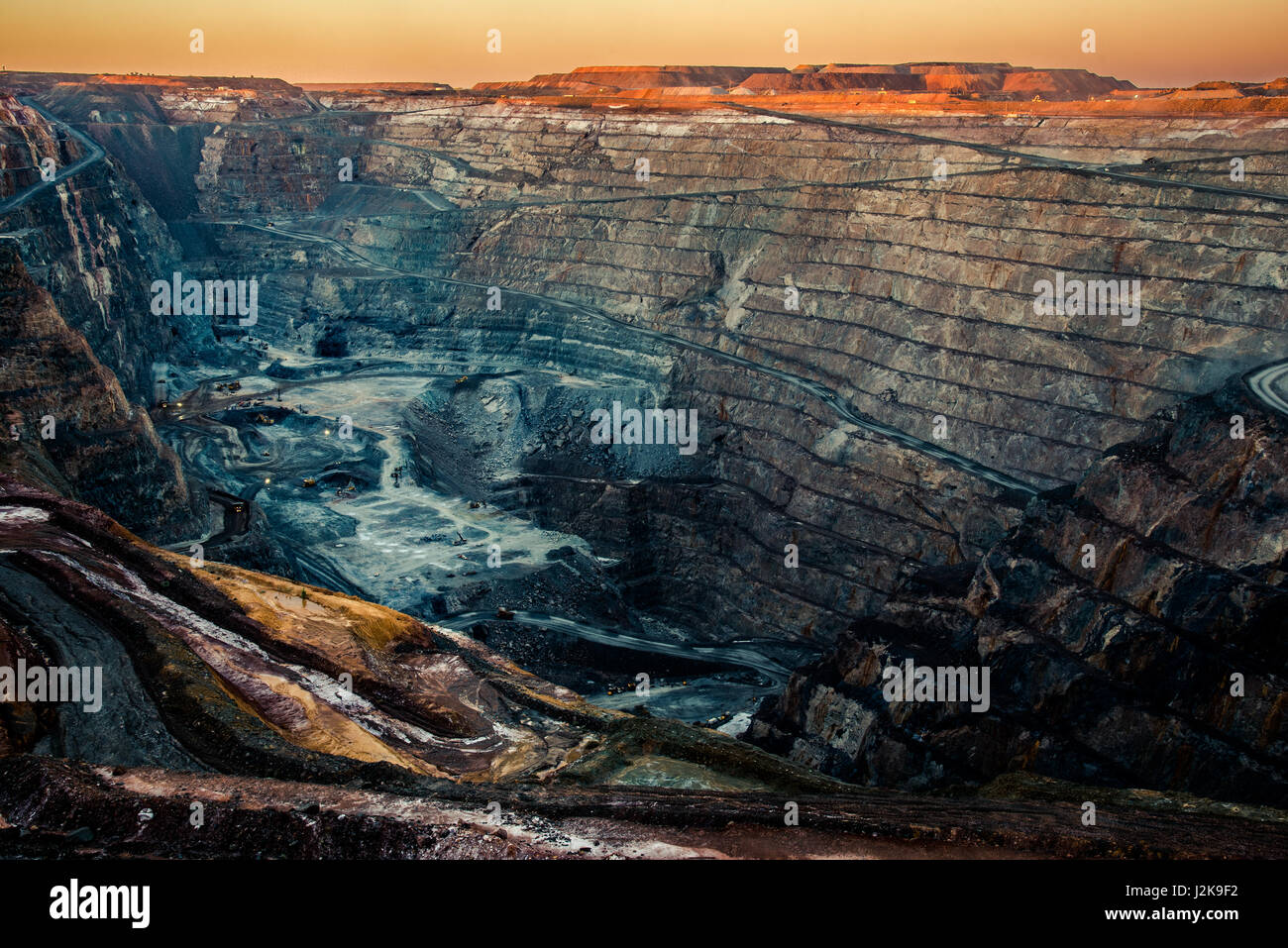 Kalgoorlie with its Super Pit gold mine is of the most the most successful towns in the Australian Outback. - Stock Image