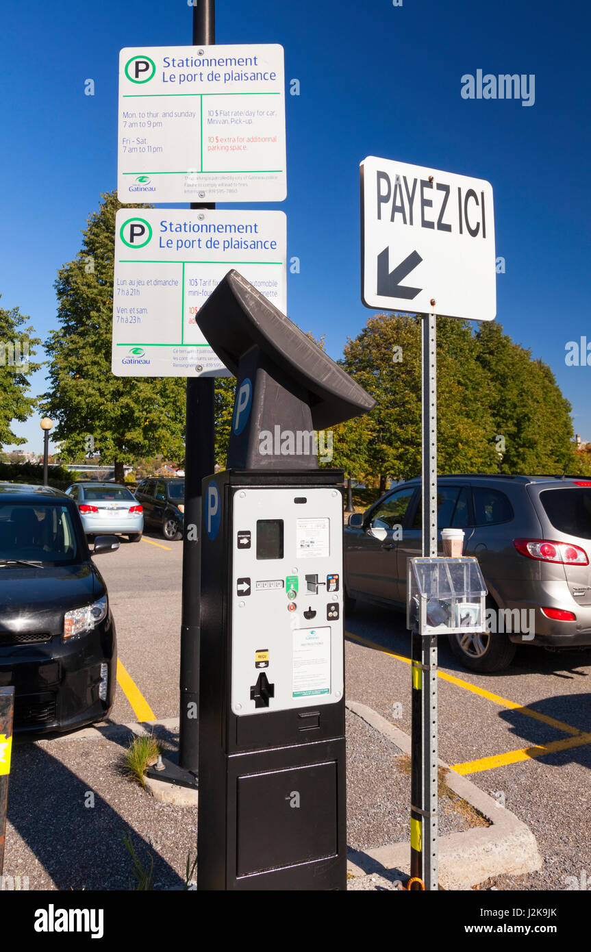 A pay and display machine at the parking lot for Jacques-Cartier Park in Hull, Gatineau, Quebec, Canada. - Stock Image