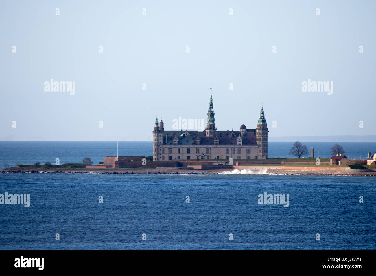 Kronborg castle in Helsingor, Denmark. Seen from the sea. - Stock Image