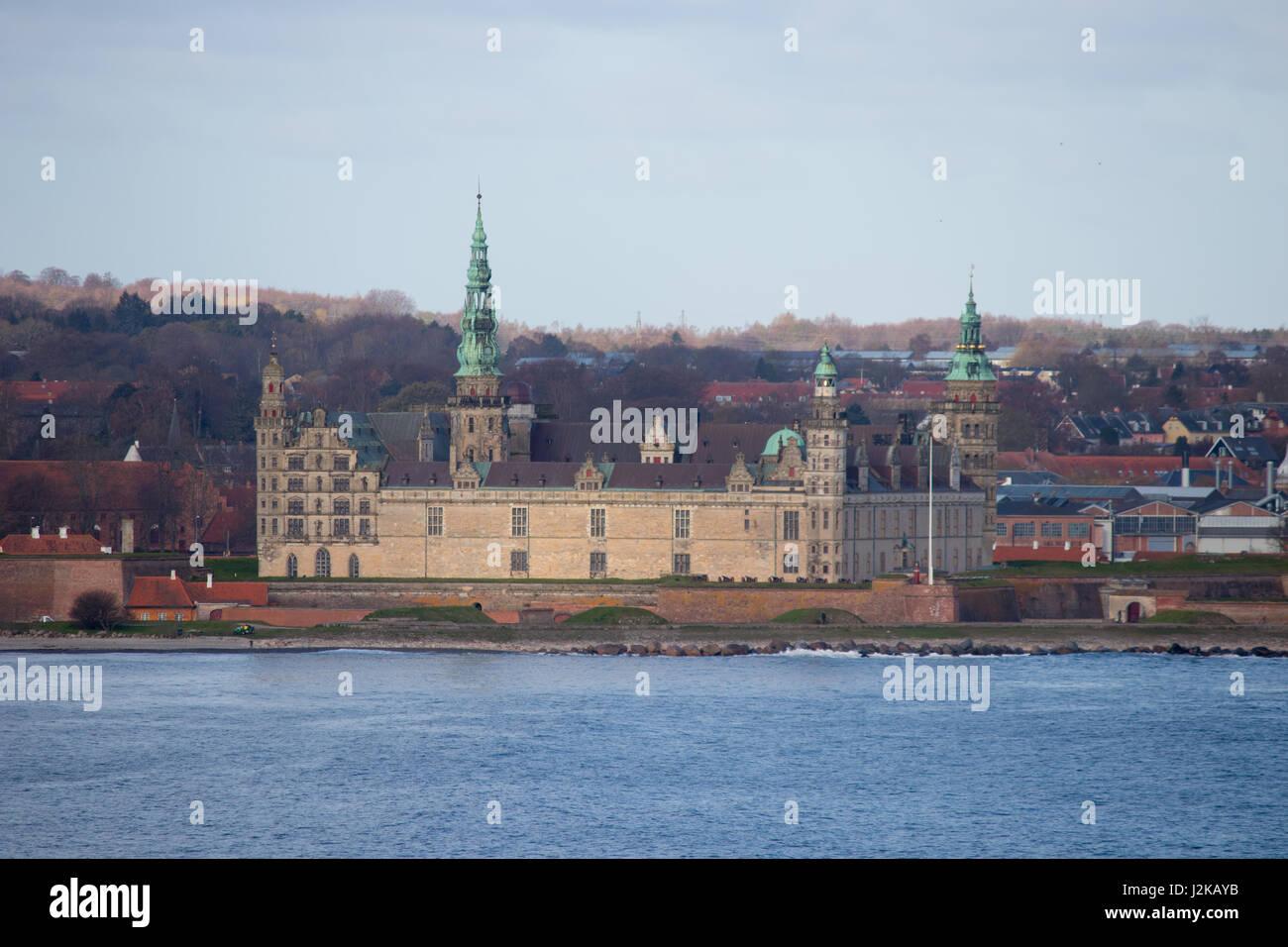 Kronborg castle in Helsingor, Denmark. Seen from the sea. - Stock Image
