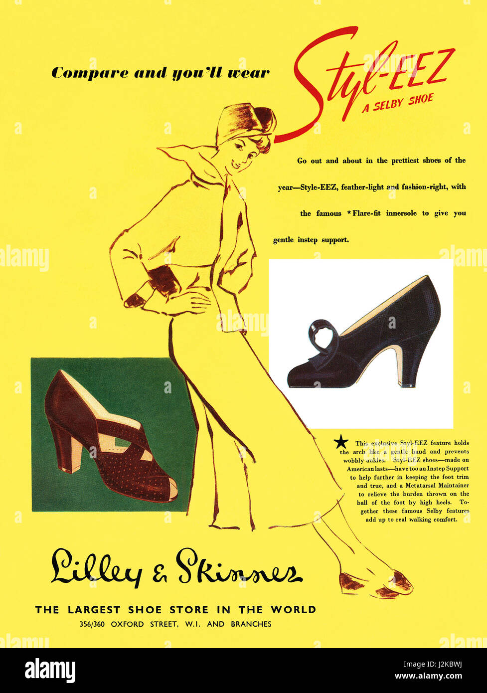 1950 British advertisement for Styl-Eez shoes by Selby, available at Lilley & Skinner shoe stores. - Stock Image
