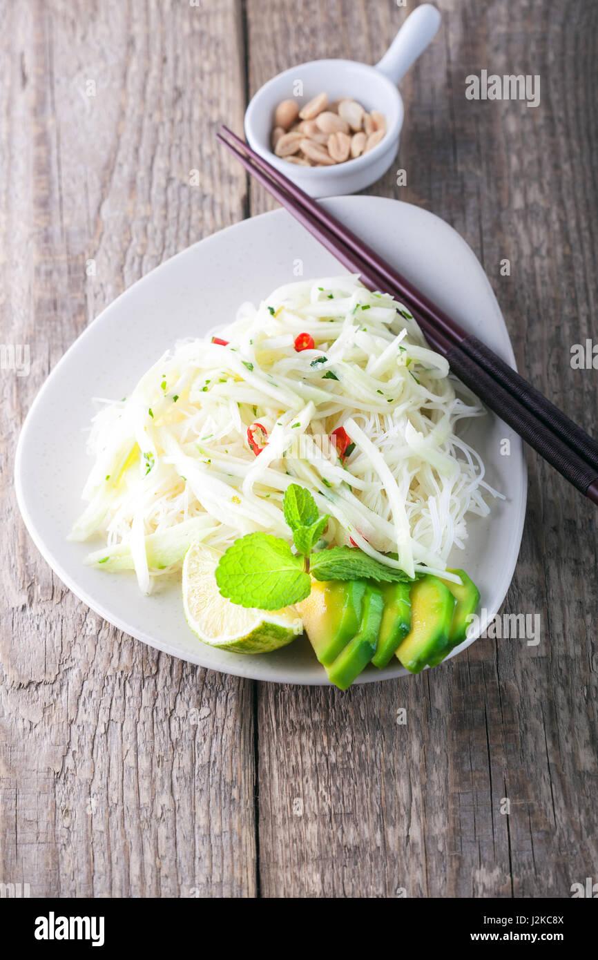 Spicy kohlrabi noodles  - Stock Image