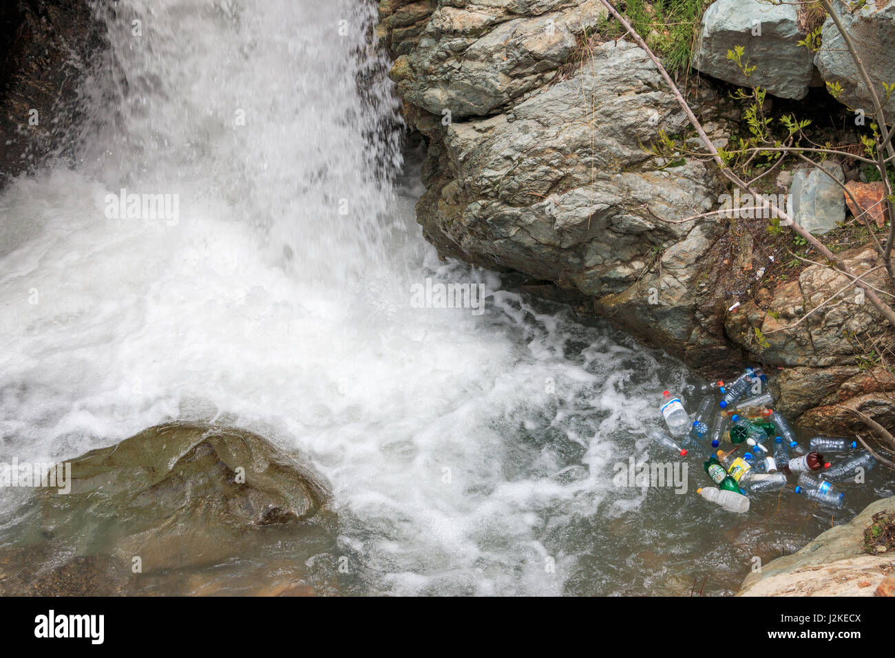 Plastic Bottles floating on a river - Stock Image